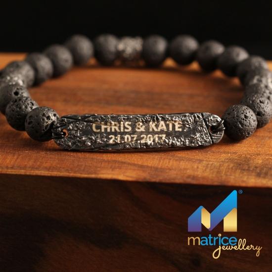 Именной браслет из Чёрного Серебра с Вулканической Лавой