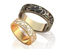 Парные обручальные кольца с эмалями Dream
