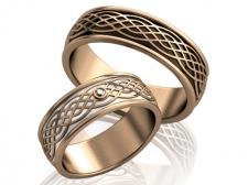 Парные обручальные кольца с эмалями Emotion
