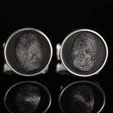 Серебряные запонки с отпечатком