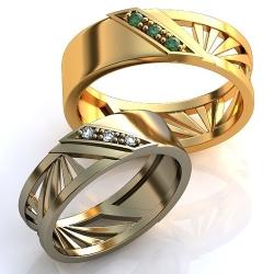 """Парные обручальные кольца """"Геометрия"""""""