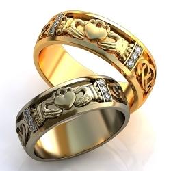 """Парные обручальные кольца """"Кладдах"""""""