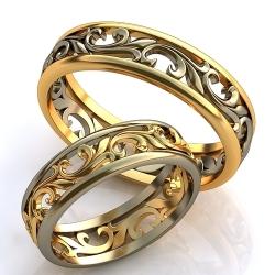 """Парные обручальные кольца """"Вензеля"""""""