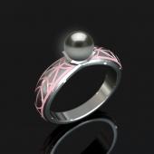 Кольцо с жемчужиной на выбор