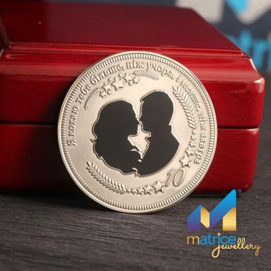 Монета из серебра на 10 лет свадьбы
