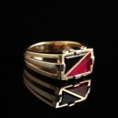 Винтажный перстень с рубином и агатом