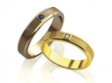 Пара золотых обручальных колец Quadro
