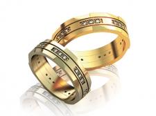 Парные обручальные кольца с бриллиантами Queen