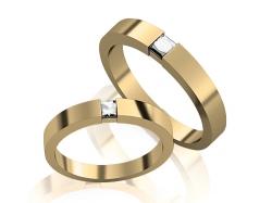 Пара золотых обручальных колец с бриллиантами Slim