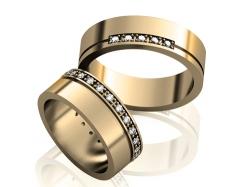 Парные золотые обручальные кольца Soul