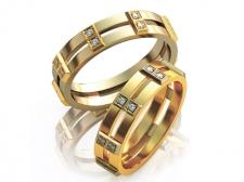 Парные золотые обручальные кольца с бриллиантами Tandem