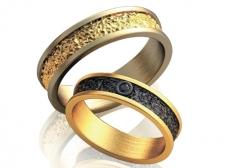 Пара золотых обручальных колец Terra