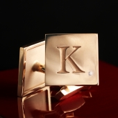 """Золотые запонки """"МК"""" с бриллиантом"""