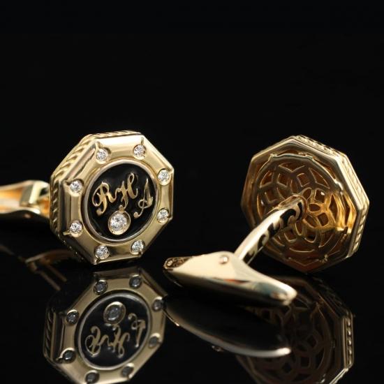 """Золотые запонки с инициалами """"RHA"""""""