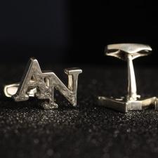 Серебряные запонки с инициалами AN