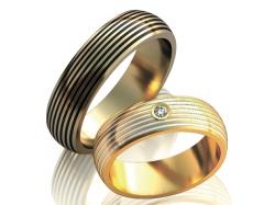 Пара обручальных колец с бриллиантом и покрытием эмалями Zebrano